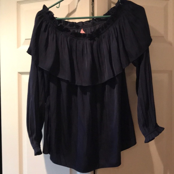7dace3dc9016f Lilly Pulitzer Tops - Navy Blue Silk off the shoulder blouse! Medium!
